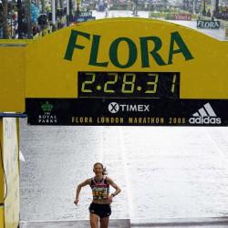 liz yelling 2008 marathon finish