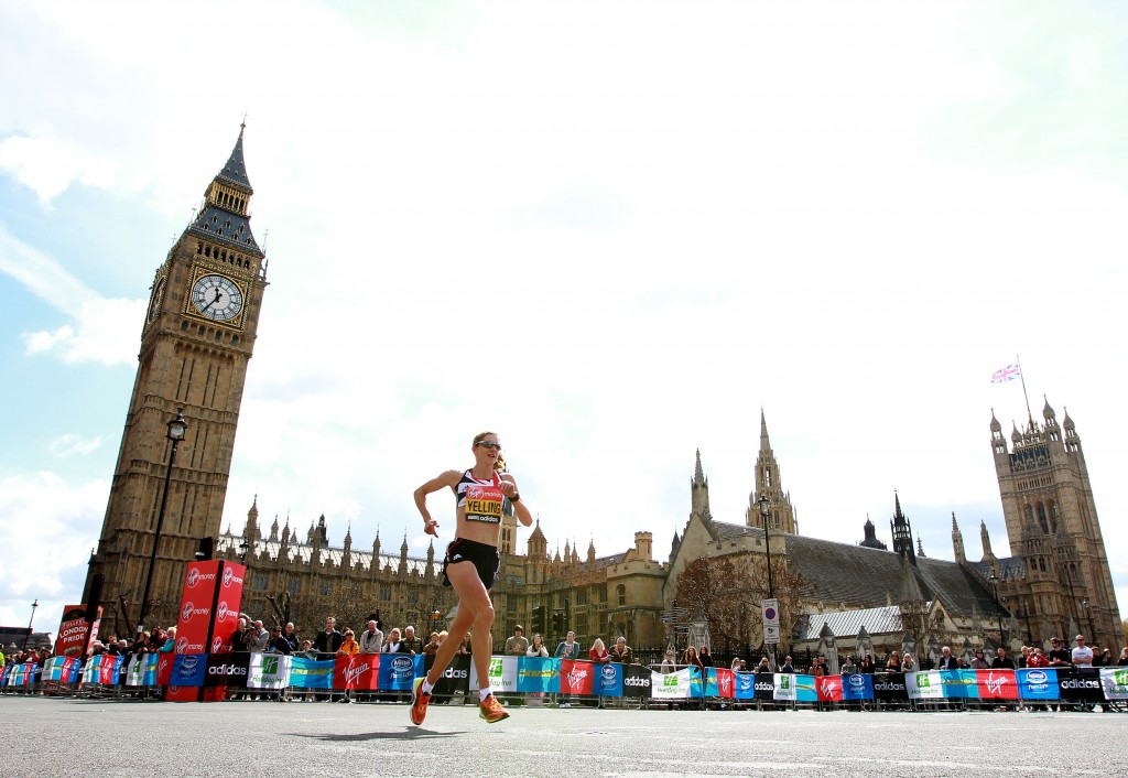 LONDON, ENGLAND - APRIL 22:   Liz Yelling of Great Britain passes Westminster during the Virgin London Marathon 2012 on April 22, 2012 in London, England.  (Photo by Jan Kruger/Getty Images)